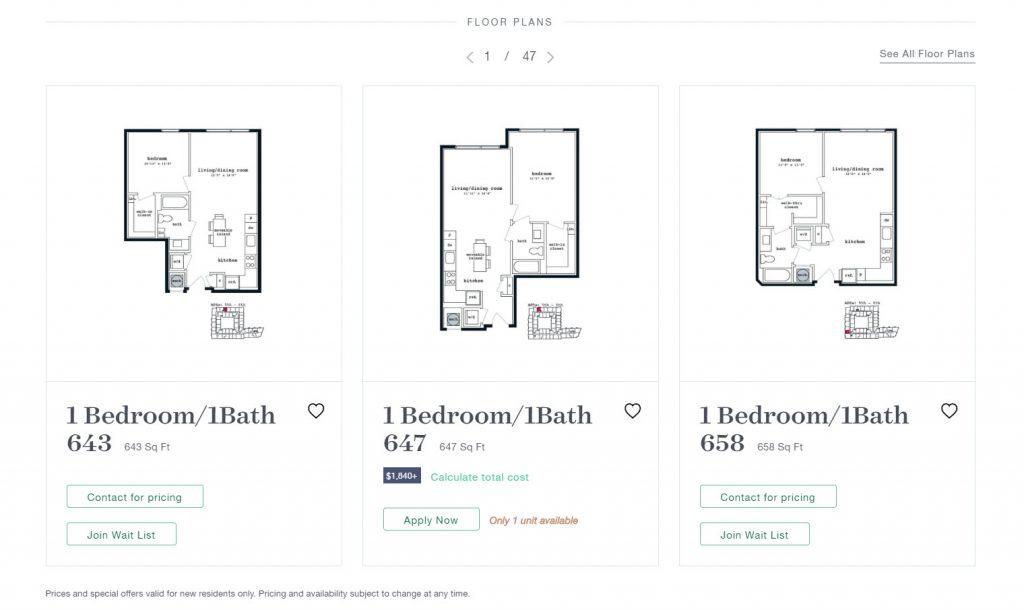 Apartment floor plans feature