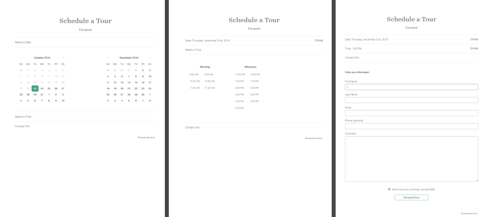 schedule a tour feature