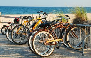 bikes on the Hamptons beach
