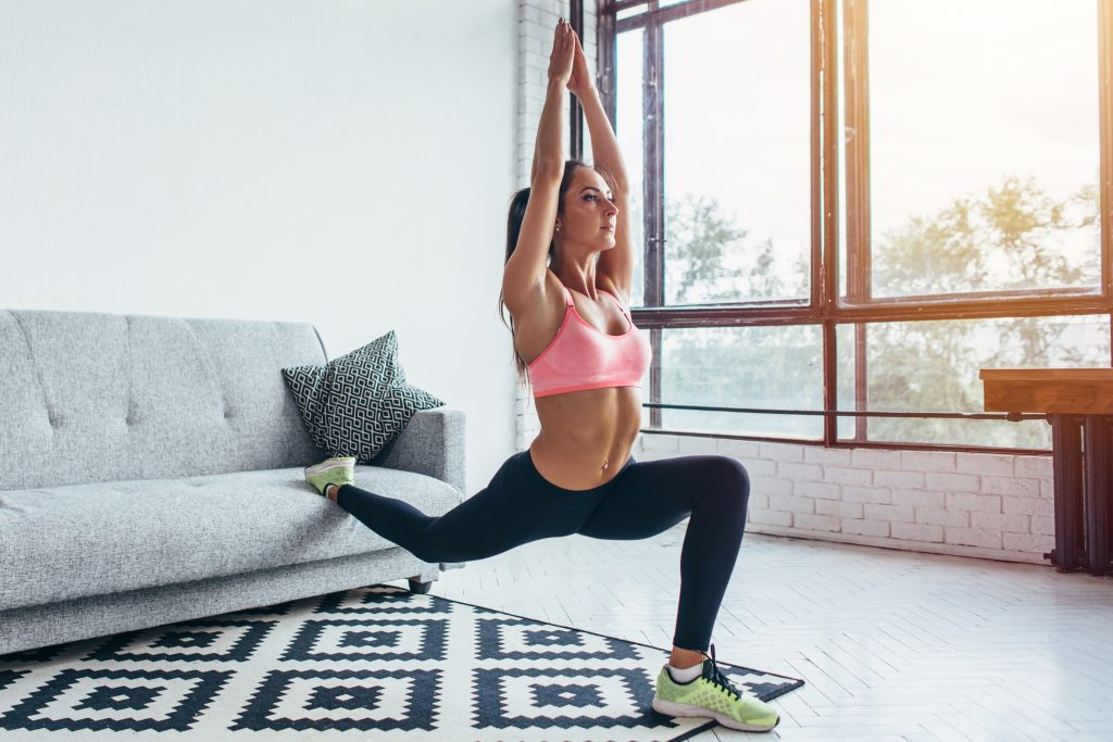 woman lunging at home