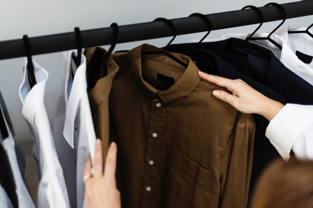 Shirts styled in minimalist style