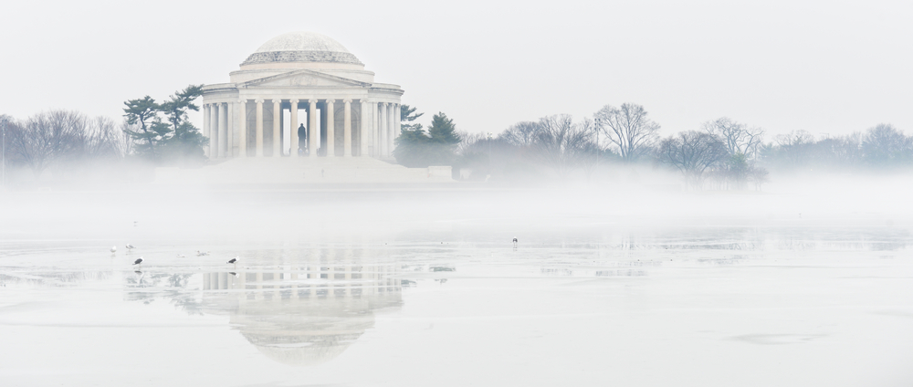Jefferson Memorial on foggy winter day